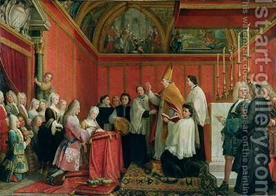 The Solemnization of the Marriage of Prince James Francis Edward Stuart 1688-1766 and Princess Maria Clementina Sobieska 1702-35 at Montefiascone 1st September 1719 1735 by Agostino Masucci - Reproduction Oil Painting