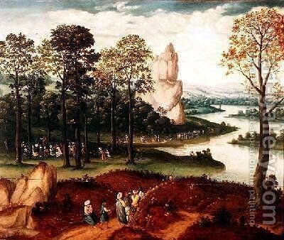 An extensive wooded river landscape with St John the Baptist preaching by Cornelis Massys - Reproduction Oil Painting