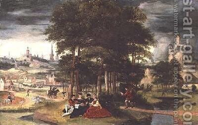 Concert in a wooded landscape by Cornelis Massys - Reproduction Oil Painting