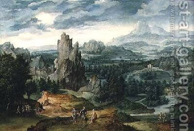 Landscape with Jupiter and other classical figures in the foreground by Cornelis Massys - Reproduction Oil Painting