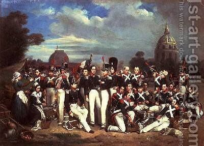 Company of the Second Legion in the Champ de Mars 1836 by Auguste Antoine Masse - Reproduction Oil Painting