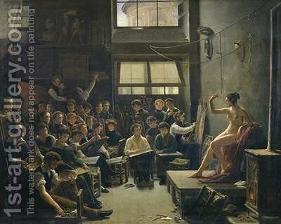 The Studio of Baron Antoine Jean Gros 1771-1835 by Auguste Antoine Masse - Reproduction Oil Painting