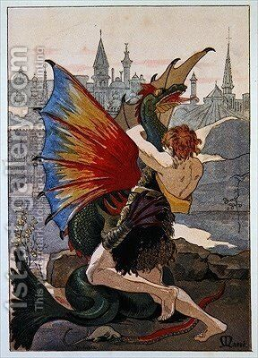 Jean LOurs in combat with a Dragon 1900 by Masse - Reproduction Oil Painting