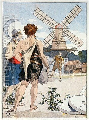 Jean LOurs meets Roue de Moulin the first of the three strong men who accompany him on his adventures by Masse - Reproduction Oil Painting