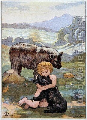 Jean LOurs as a Child playing with a baby Bear by Masse - Reproduction Oil Painting