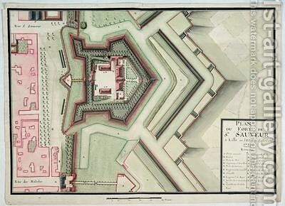 Fort of Saint-Sauveur Lille in 1728 from Traite de Fortifications by Claude Masse - Reproduction Oil Painting
