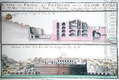 Cross-section and elevation of the harbour tower at Toulon from Traite de Fortifications by Claude Masse - Reproduction Oil Painting