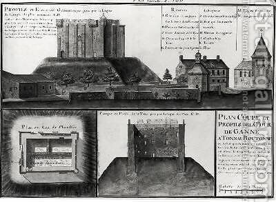 Cross-section and profile drawing of the Tour de Ganne at Tonnay Boutonne from Recueil des Plans de Saintonge by Claude Masse - Reproduction Oil Painting