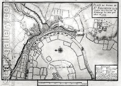 Map of Saint-Savinien on the Charente River in 1713 from Recueil des Plans de Saintonge by Claude Masse - Reproduction Oil Painting