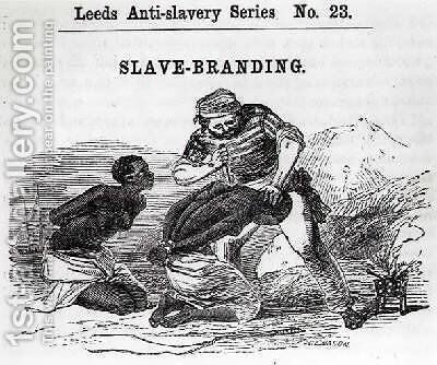 Slave-Branding from Leeds Anti-Slavery Series 1853 by (after) Mason, W.H. - Reproduction Oil Painting