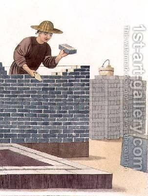 A Bricklayer plate 29 from The Costume of China by (after) Mason, Major George Henry - Reproduction Oil Painting