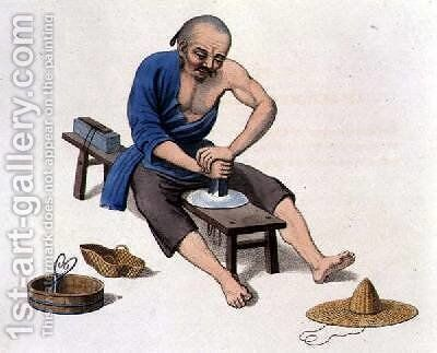 An Old Man Polishing Crystals by (after) Mason, Major George Henry - Reproduction Oil Painting