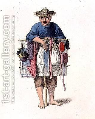 A Pedlar plate 17 from The Costume of China by (after) Mason, Major George Henry - Reproduction Oil Painting