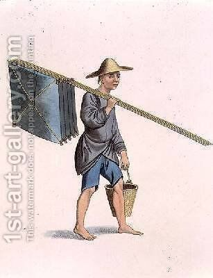 A Fisherman plate 25 from The Costume of China by (after) Mason, Major George Henry - Reproduction Oil Painting