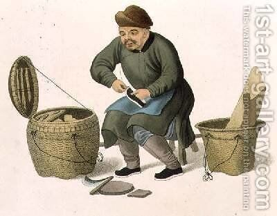 A Shoemaker plate 47 from The Costumes of China by (after) Mason, Major George Henry - Reproduction Oil Painting