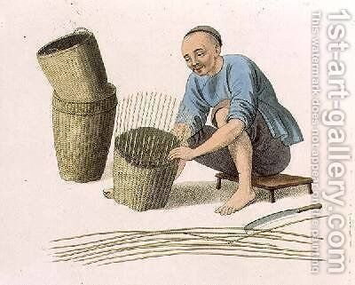 A Basket Weaver by (after) Mason, Major George Henry - Reproduction Oil Painting