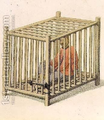 A Malefactor in a Cage by (after) Mason, Major George Henry - Reproduction Oil Painting