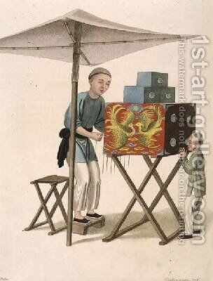 A Man with a Raree-Show by (after) Mason, Major George Henry - Reproduction Oil Painting