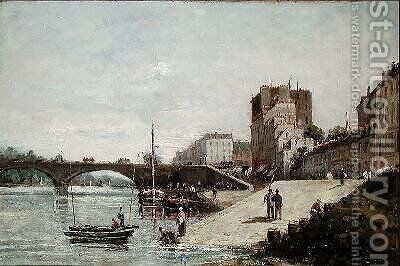 The Seine and the Port of Courbevoie by Gustave Mascart - Reproduction Oil Painting