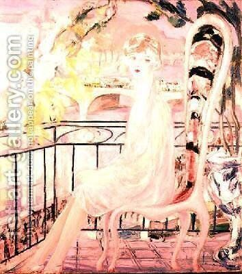 Portrait of Dolly Davis on a balcony in front of the old bridge of Alma by Jacqueline Marval - Reproduction Oil Painting