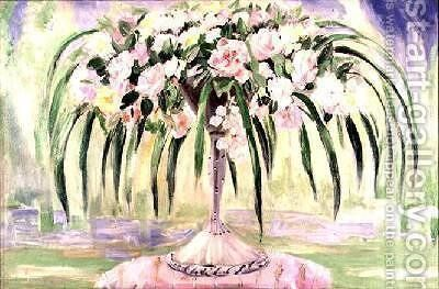 Roses in an Art Nouveau Vase by Jacqueline Marval - Reproduction Oil Painting