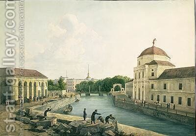 View of the Moika River by the Imperial Stables 1809 by Andrei Yefimovich Martynov - Reproduction Oil Painting