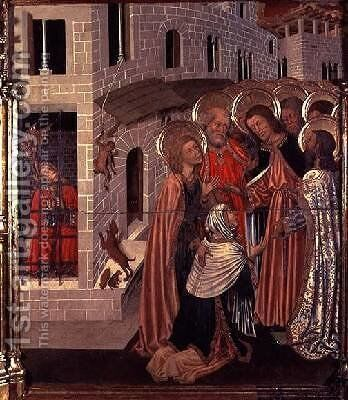 The Healing of the Possessed predella panel from the Altarpiece of the Transfiguration 1445-52 by Bernat (Bernardo) Martorell - Reproduction Oil Painting