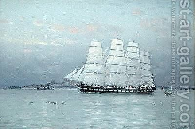 An Outward Bound Ship under Full Sail 1882 by Eduardo de Martino - Reproduction Oil Painting
