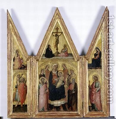 Triptych with Madonna and Child 1400 by di Bartolomeo di Biagio Martino - Reproduction Oil Painting