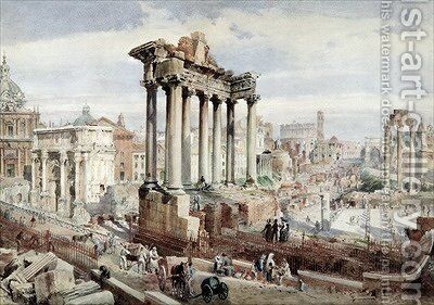 The Forum Romanum Rome 1870 by J. Martin - Reproduction Oil Painting