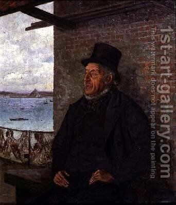 A Great Authority in Our Village Portrait of John Kelynack 1877 by Henry Martin - Reproduction Oil Painting