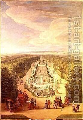 Perspective View of the Grove from the Galerie des Antiques at Versailles 1688 by Jean-Baptiste Martin - Reproduction Oil Painting