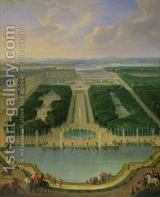 Perspective view of the chateau of Versailles seen from the Neptune Fountain 1696 by Jean-Baptiste Martin - Reproduction Oil Painting