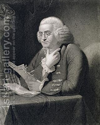 Portrait of Benjamin Franklin engraved by Thomas B Welch 1814-74 by (after) Martin, David - Reproduction Oil Painting