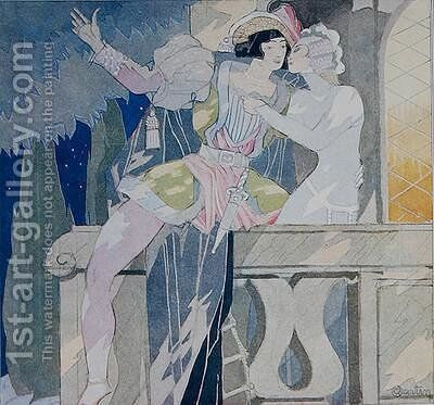 Romeo and Juliet in the balcony scene by Charles Martin - Reproduction Oil Painting