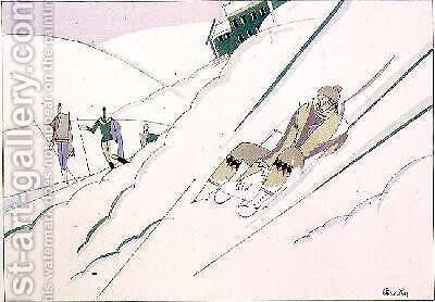 Sledging 1920 by Charles Martin - Reproduction Oil Painting