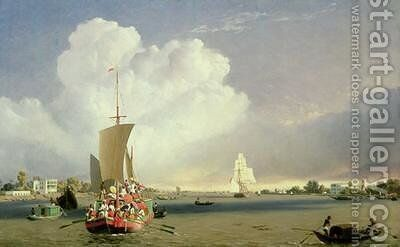 On the Hoogly River at Garden Reach below Calcutta 1852 by C.J. Martin - Reproduction Oil Painting