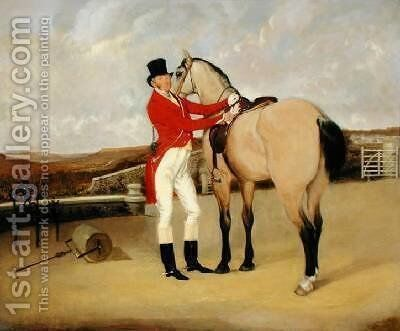 James Taylor Wray of the Bedale Hunt with his Dun Hunter by Anson A. Martin - Reproduction Oil Painting