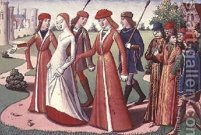 Joan of Arc 1412-31 being led to Charles VII 1403-61 from the Vigils of Charles VII by de Paris (known as Auvergne) Martial - Reproduction Oil Painting