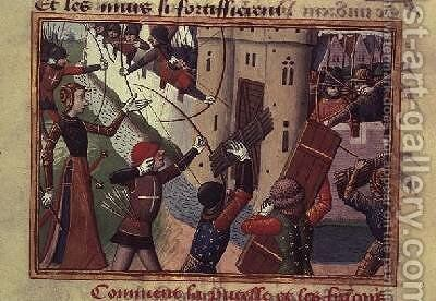 The Siege of Paris by Joan of Arc 1412-31 in 1429 by de Paris (known as Auvergne) Martial - Reproduction Oil Painting