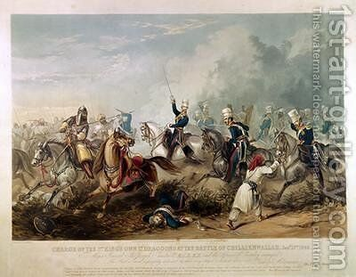 Charge of the Kings Own Light Dragoons at the Battle of Chillianwala on 13th January by (after) Martens, Henry - Reproduction Oil Painting