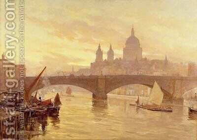 Southwark Bridge by Herbert Menzies Marshall - Reproduction Oil Painting
