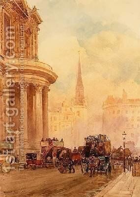 St Pauls Churchyard by Herbert Menzies Marshall - Reproduction Oil Painting