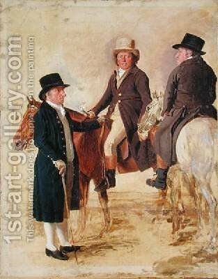 Three Worthies of the Turf at Newmarket by Benjamin Marshall - Reproduction Oil Painting