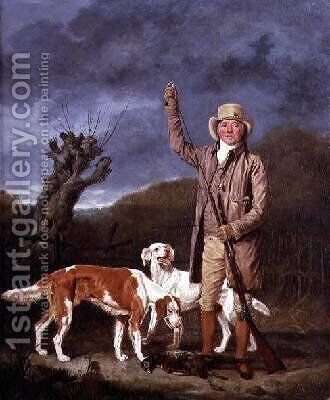 A Sportsman loading a flintlock gun with two retrievers and a dead pheasant in a landscape by Benjamin Marshall - Reproduction Oil Painting