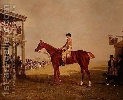 Lt General Thomas Grovesnors Chestnut Filly Defiance 1813 by Benjamin Marshall - Reproduction Oil Painting