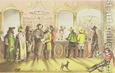 The Bar of a Gambling Saloon by (after) Marryat, Francis Samuel - Reproduction Oil Painting
