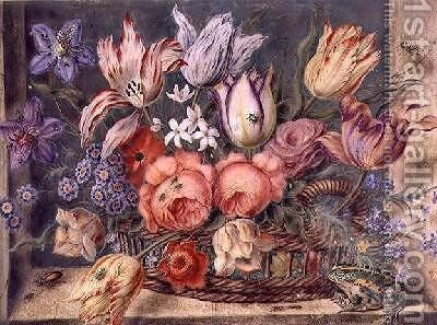 Flowers in a Basket with Frogs and Insects 1634 by Jacob Marrel - Reproduction Oil Painting