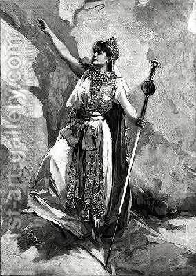 Marie Delna in her debut role as Didon in Les Troyens by (after) Marold, Ludek or Ludwig - Reproduction Oil Painting