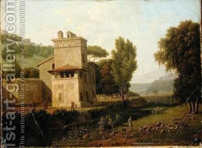 The Casa Cenci in the Borghese Gardens Rome 1805 by Jean-Honore Marmont de Barmont - Reproduction Oil Painting